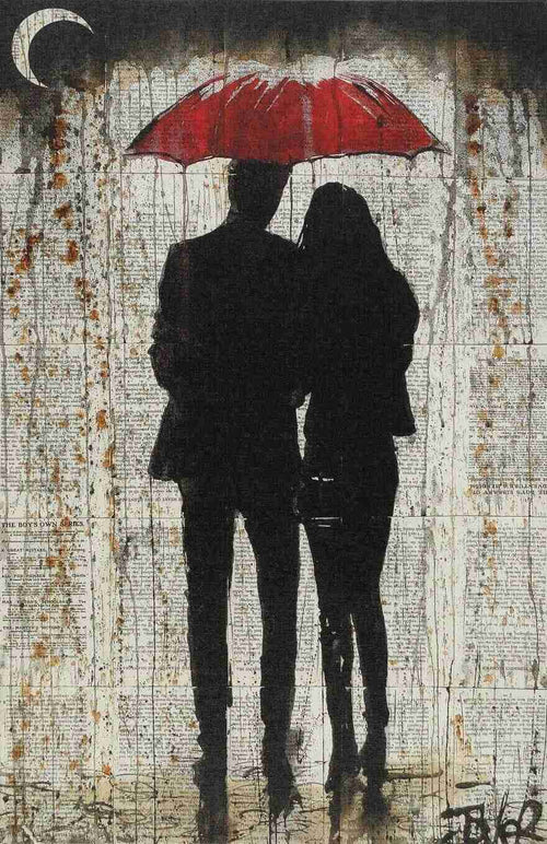 A lovers rainy day stroll saturating the pages of a book