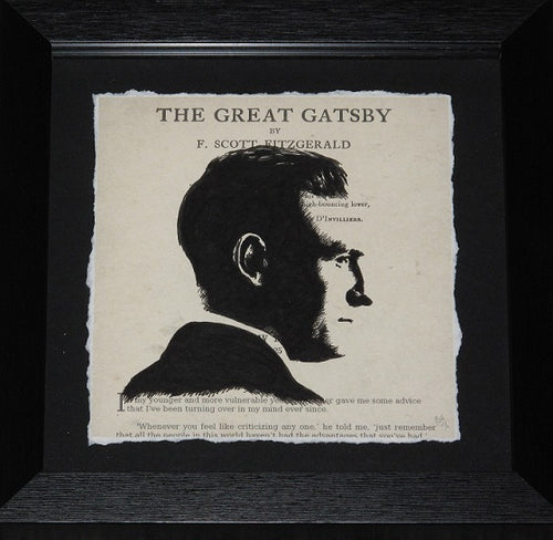 An original acrylic and ink portrait of F. Scott Fitzgerald captured on the opening words of The Great Gatsby