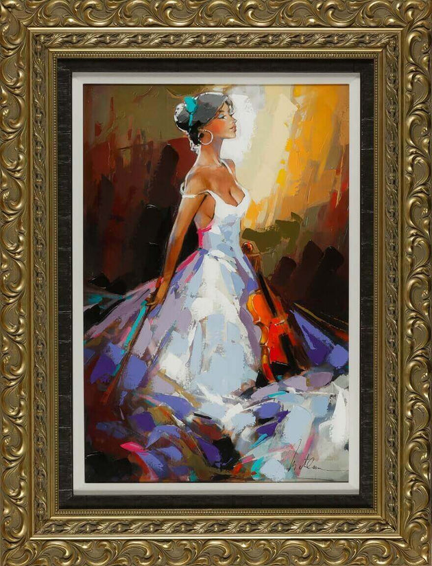 A vibrant piece revealing an elegant violinist