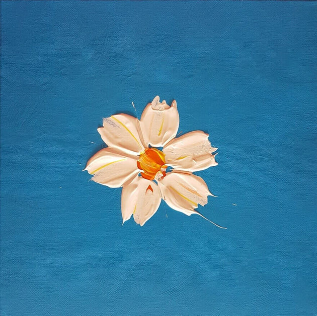 Thick white flower in a sky of blue, original art, white glory