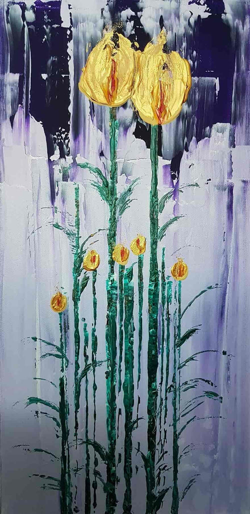 Tall flowers with a golden bloom in a two toned purple background, original art, local artist