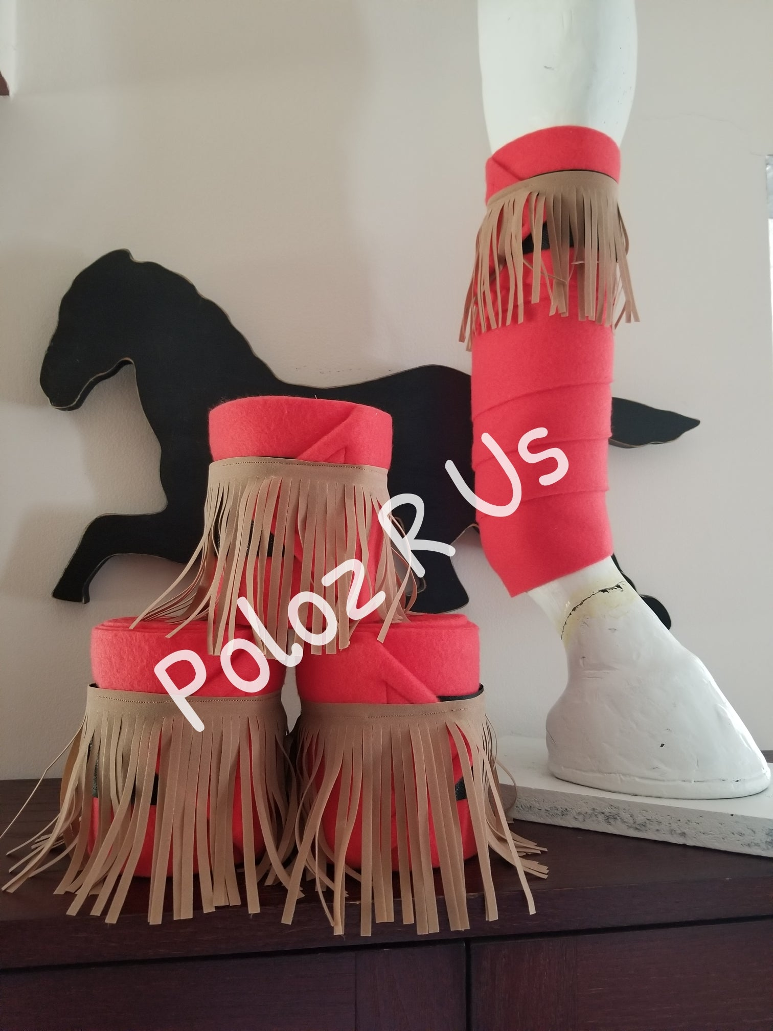 Red Fringe Polo Wraps - Horse Sized - Set of 4