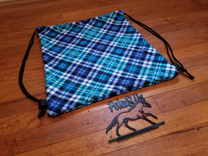 Blue & Teal Plaid Drawstring Helmet Bag