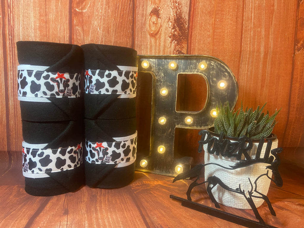 Black Polo Wraps with Chic-Fil-A Ribbon Trim - Horse Sized - Set of 4