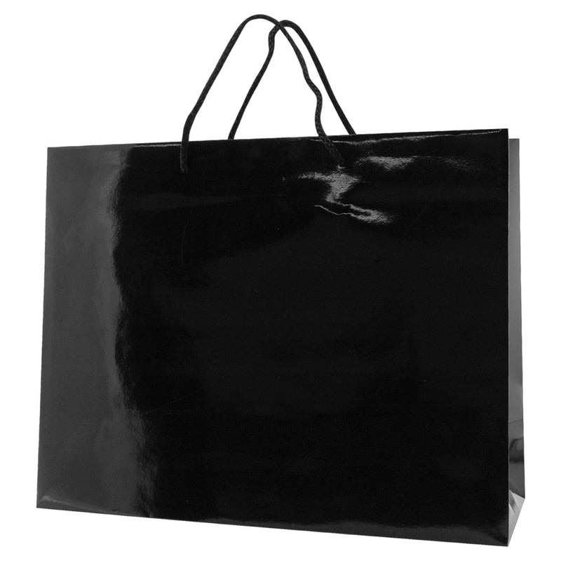 Glossy Rope Handle Bags - Black