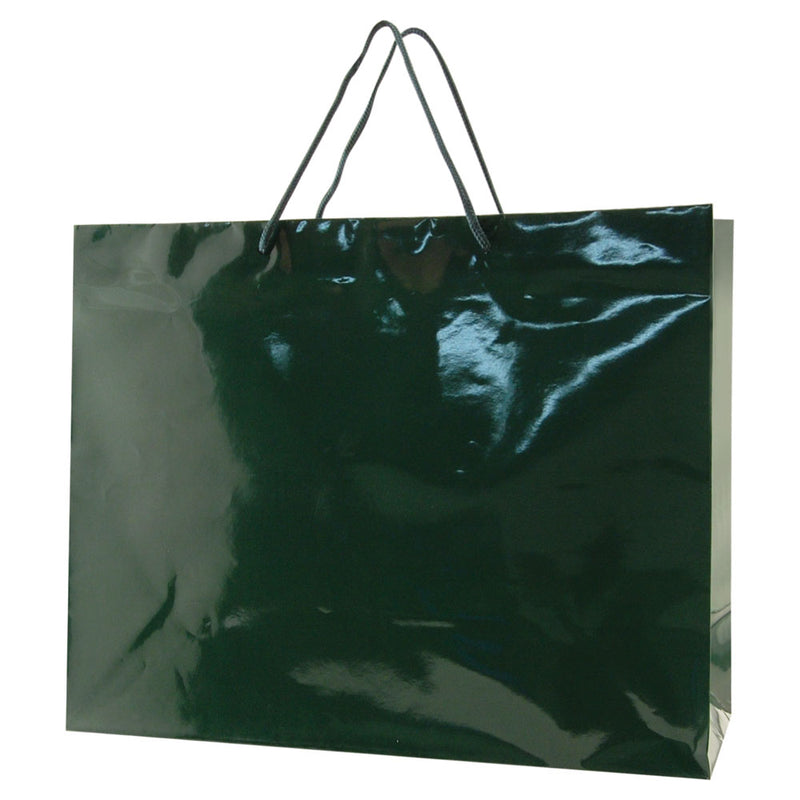 Glossy Rope Handle Bags - Hunter Green
