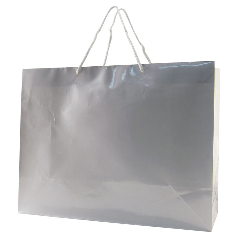 Glossy Rope Handle Bags - Silver