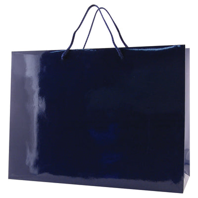 Glossy Rope Handle Bags - Navy