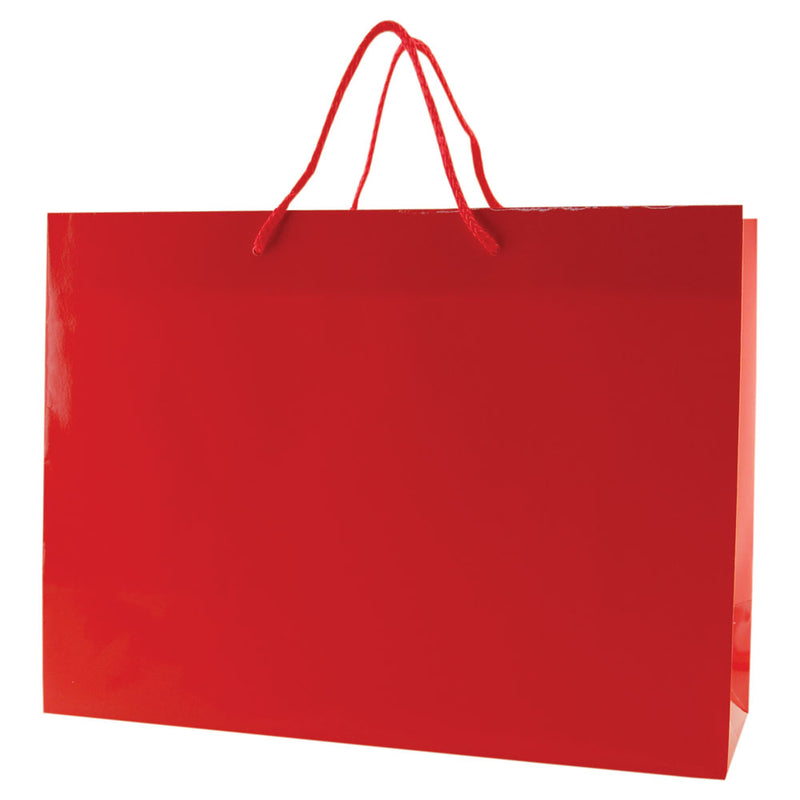 Glossy Rope Handle Bags - Red