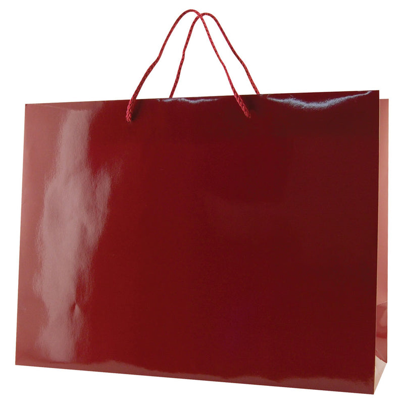 Glossy Rope Handle Bags - Maroon