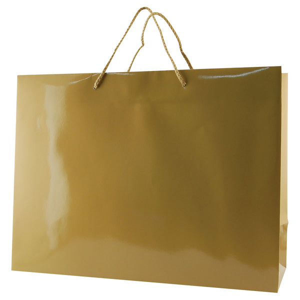 Glossy Rope Handle Bags - Gold