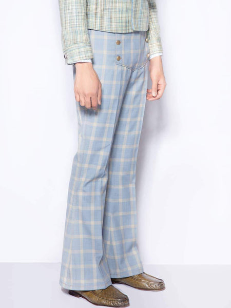 Well Plaid Bell-Bottom Trouser