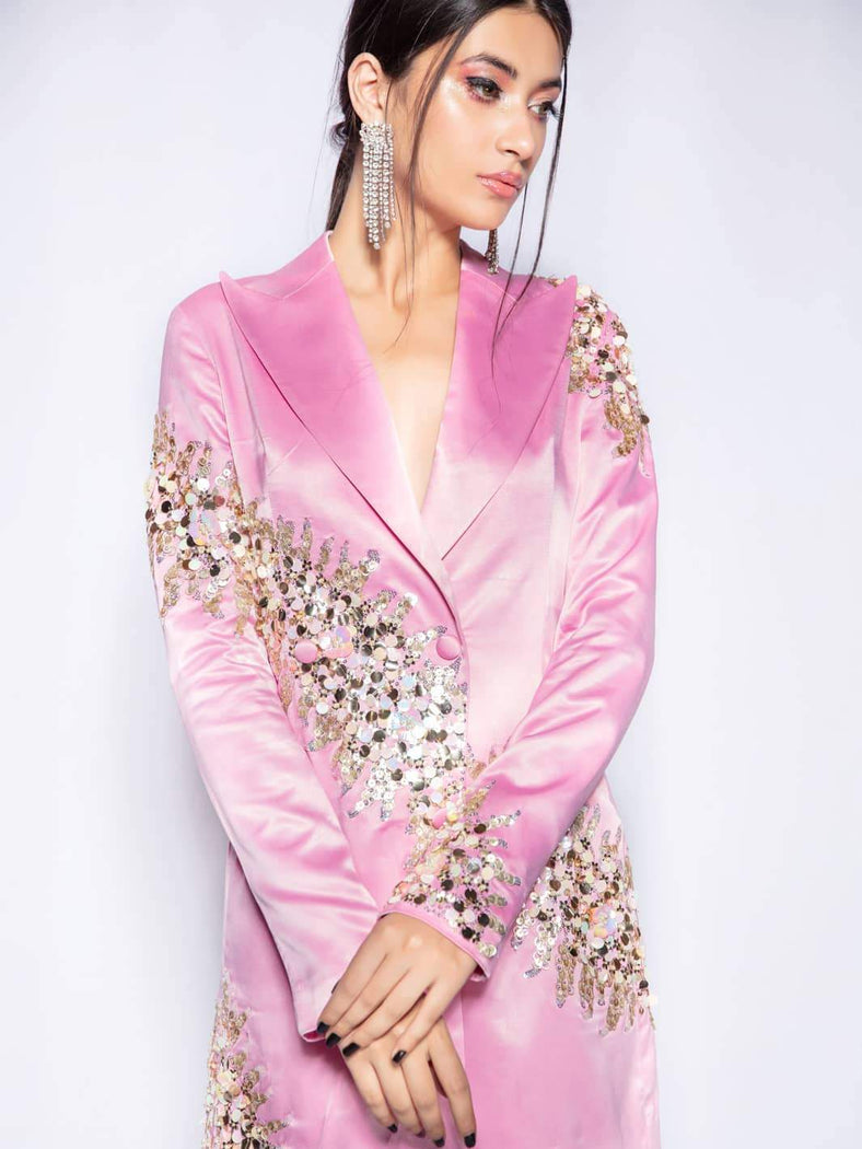 Pink Ville Sequined Blazer Dress