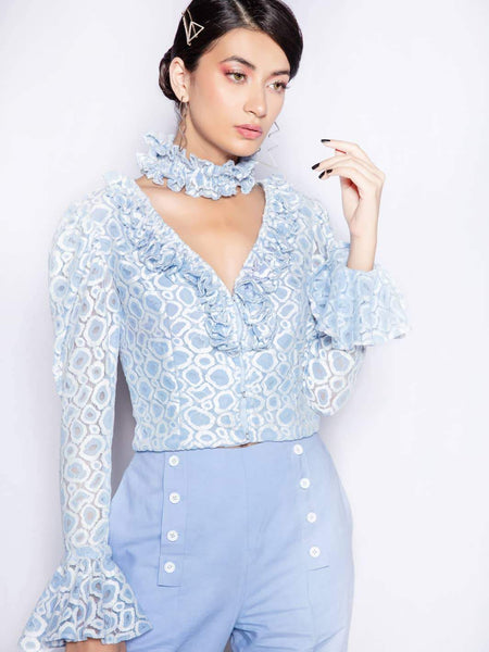 Blue Lagoon Ruffled Blouse