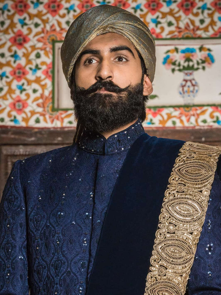Blue Embroidered - Sherwani