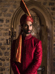 Red Embroidered - Sherwani