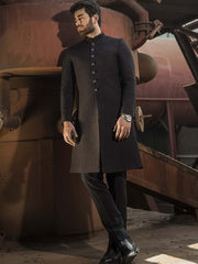 Sherwani - Quilted Black