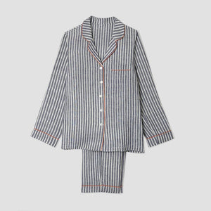 Midnight Stripe Linen Pajama Trousers Set - Piglet in Bed