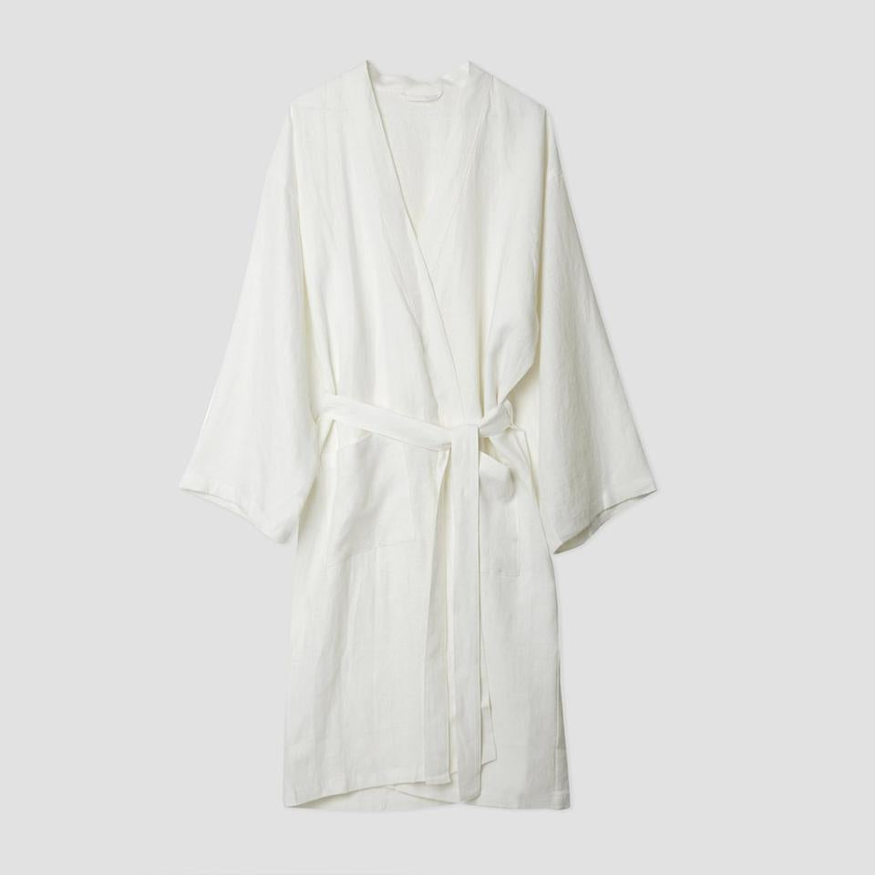 White Linen Robe - Piglet in Bed