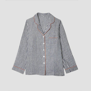 Midnight Stripe Pajama Shirt (Top Only) - Piglet in Bed