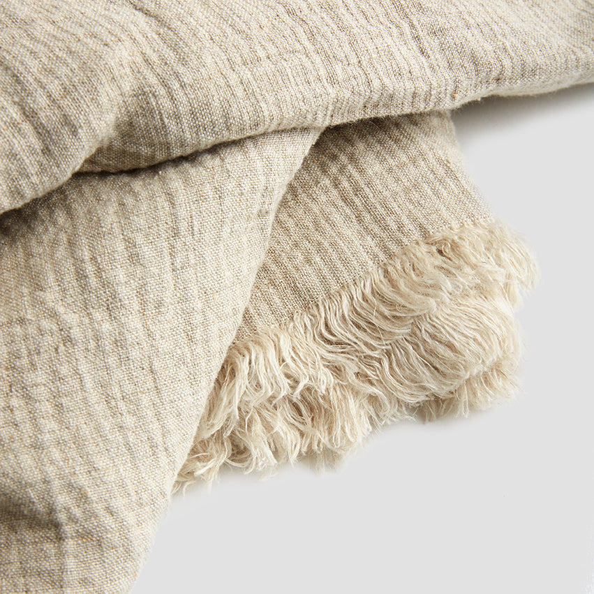 Oatmeal Linen Crinkle Throw - PIGLET US