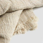Oatmeal Linen Crinkle Throw