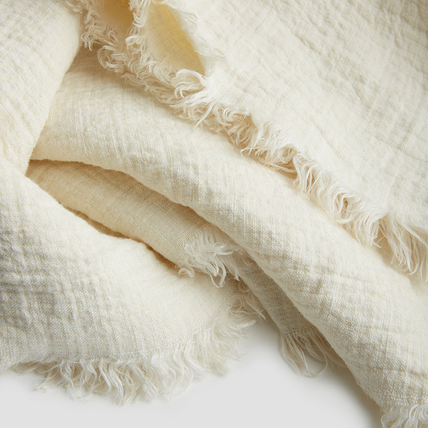 Cream Linen Crinkle Throw - PIGLET US