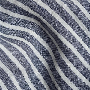 Midnight Stripe Linen Twin Duvet Cover Set - Piglet in Bed