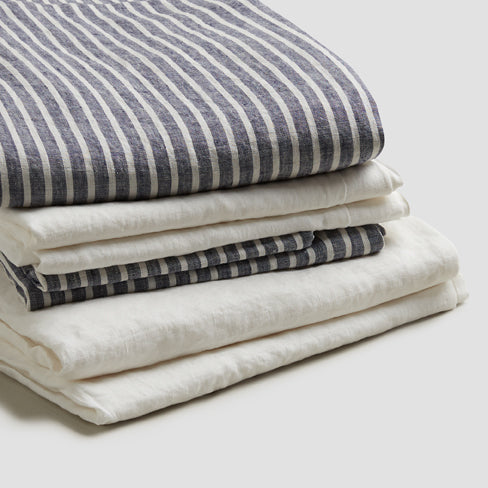 Midnight Stripe Linen Complete Sheet Set