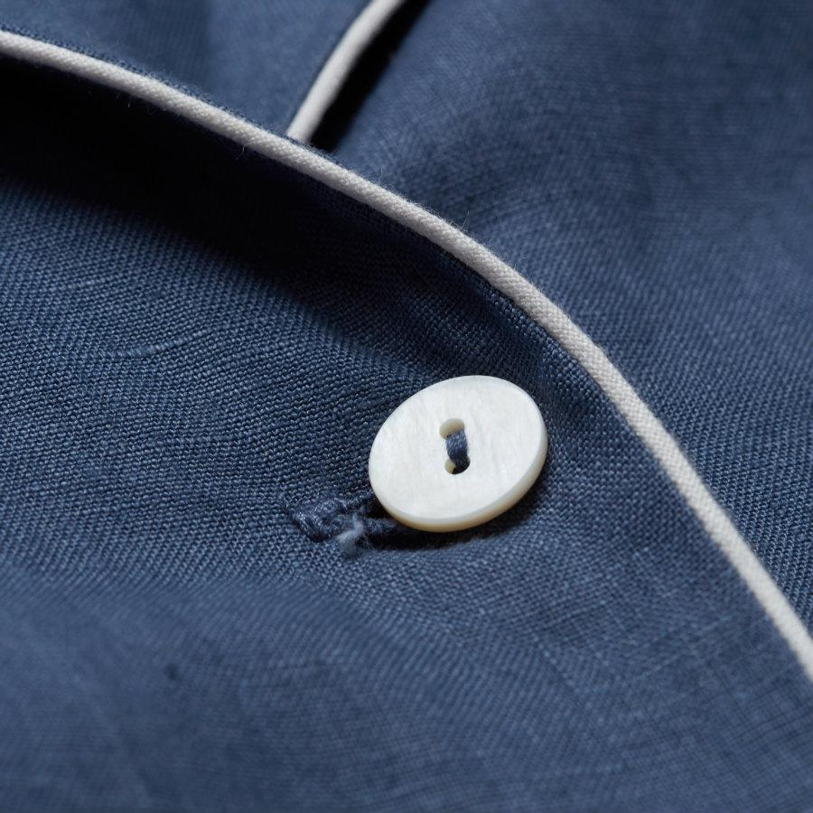 Blueberry Linen Pajama Shirt (Top Only) - Piglet in Bed