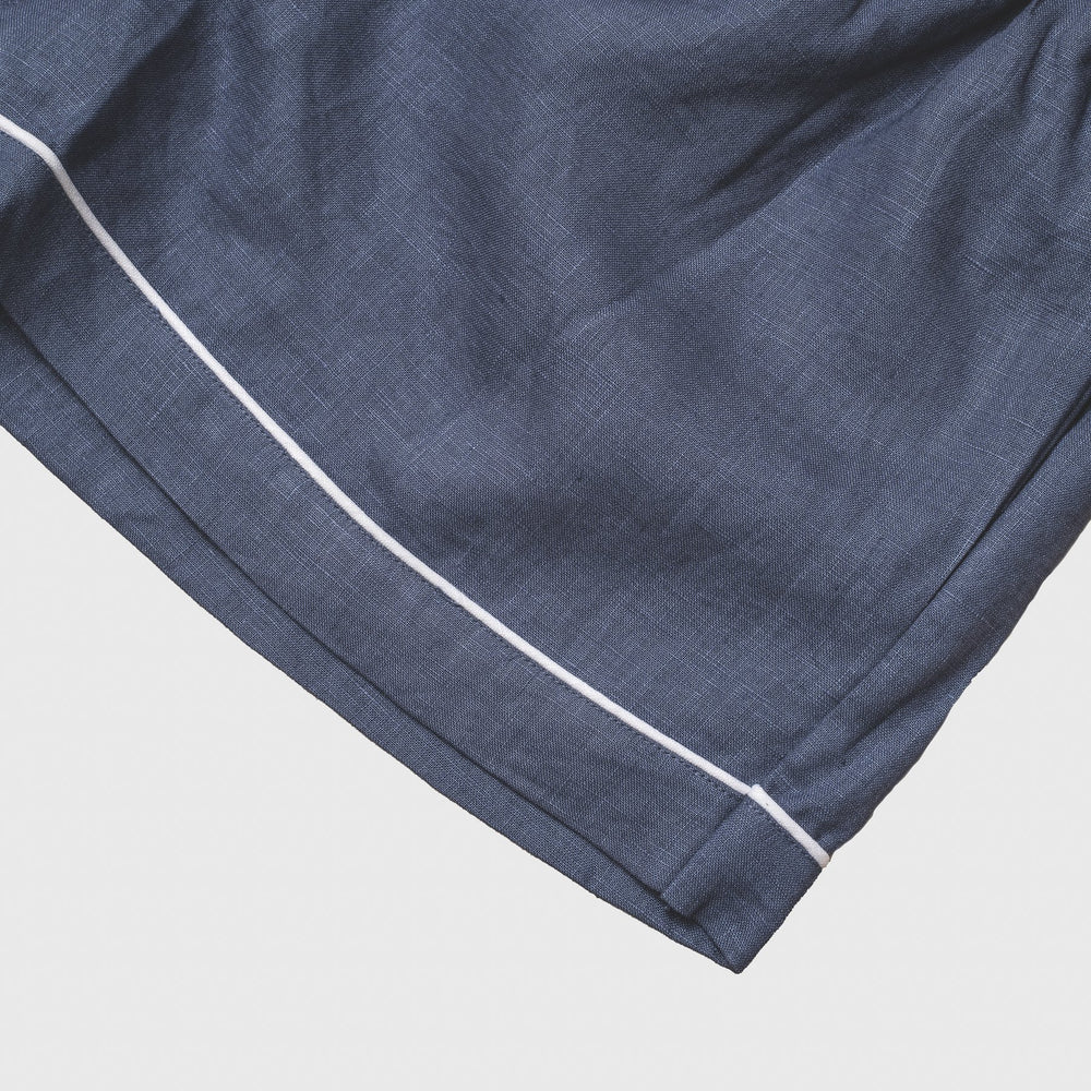 Blueberry Linen Pajama Shorts - Piglet in Bed