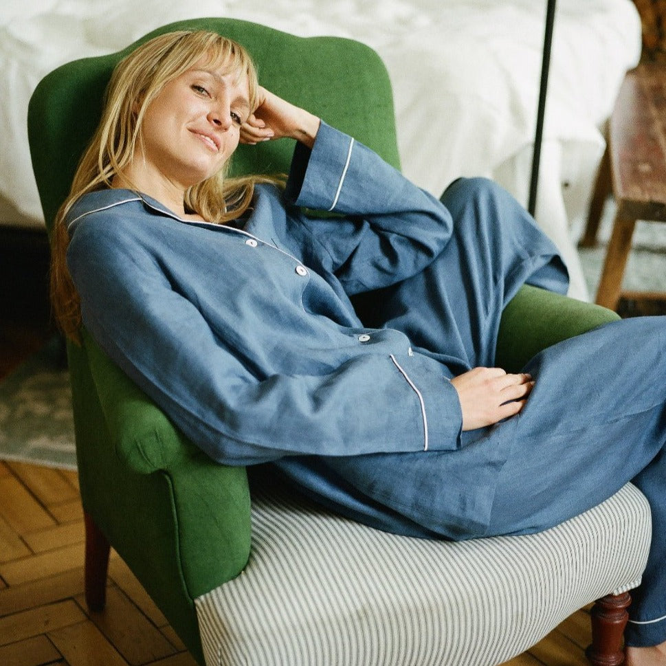Blueberry Linen Pajama Trousers - Piglet in Bed