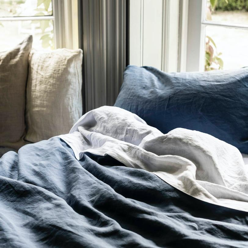 Blueberry Linen Pillowcases (Pair) - Piglet in Bed