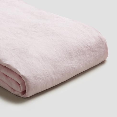Blush Linen Duvet Cover - Piglet in Bed