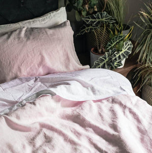 Blush Pink Linen Pillowcase (Pair) - Piglet in Bed