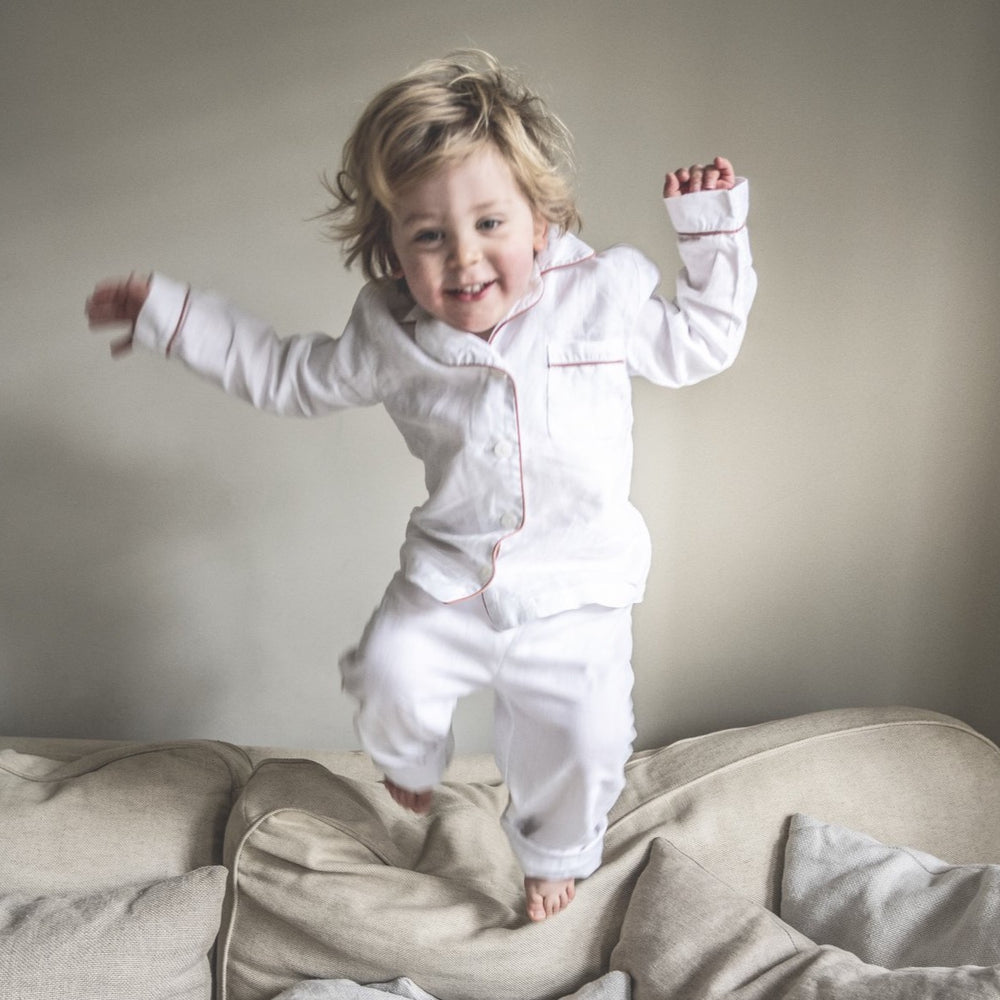 White Linen Kids Pajama Set - PIGLET US
