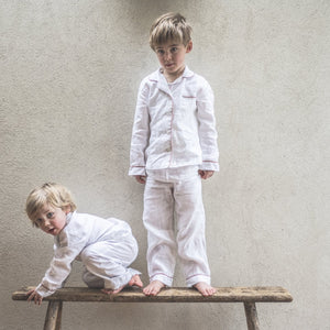 White Linen Kids Pajama Set - Piglet in Bed