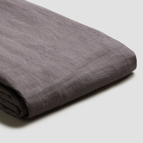 Charcoal Gray Linen Duvet Cover - Piglet in Bed