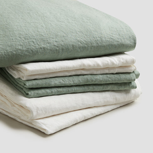 Sage Green Linen Complete Sheet Set