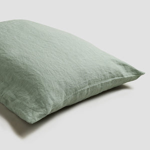 Sage Green Linen Pillowcases (Pair) - Piglet in Bed