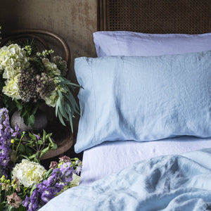 Lake Blue Linen Pillowcases (Pair) - PIGLET US