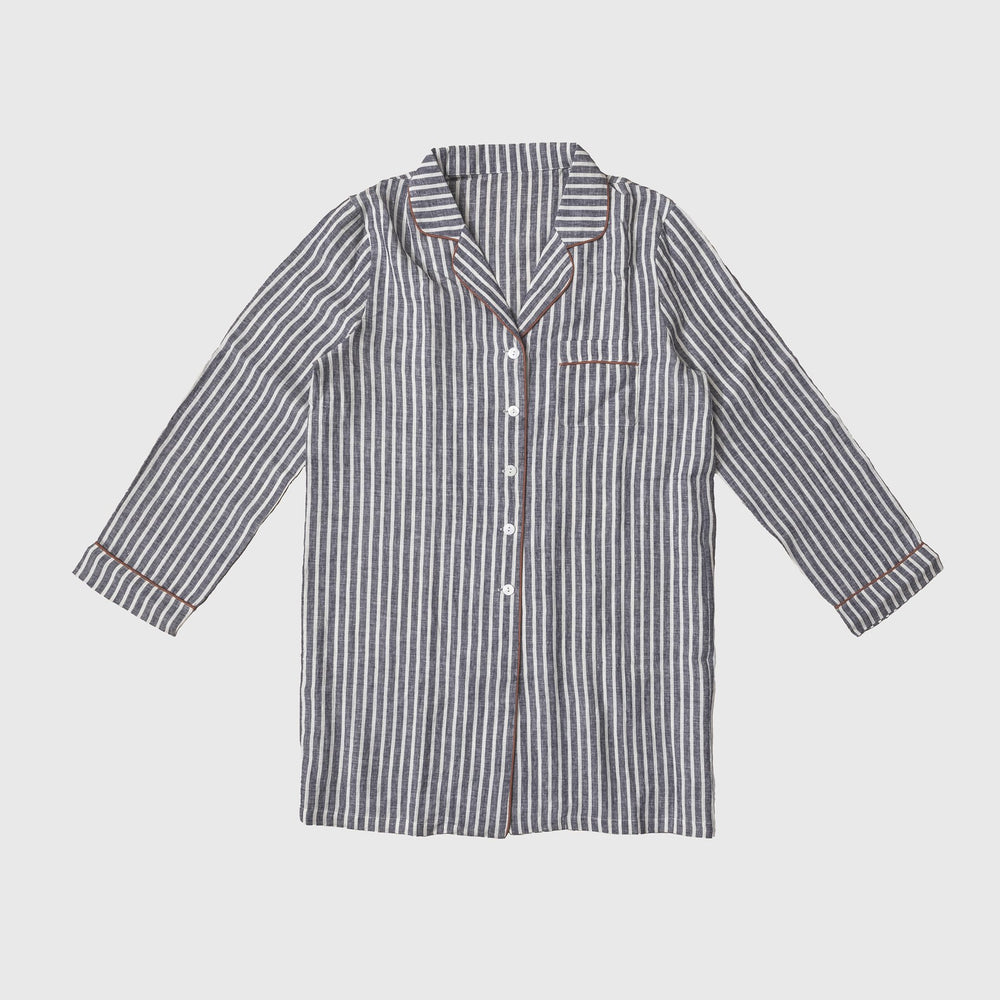 Midnight Stripe Night Shirt - Piglet in Bed