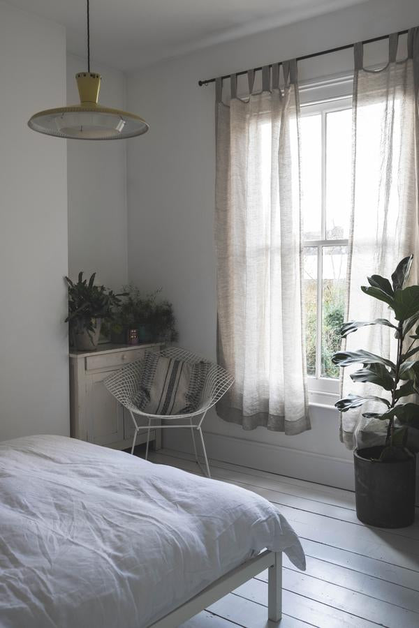 Oatmeal Linen Curtains (Pair) - Piglet in Bed
