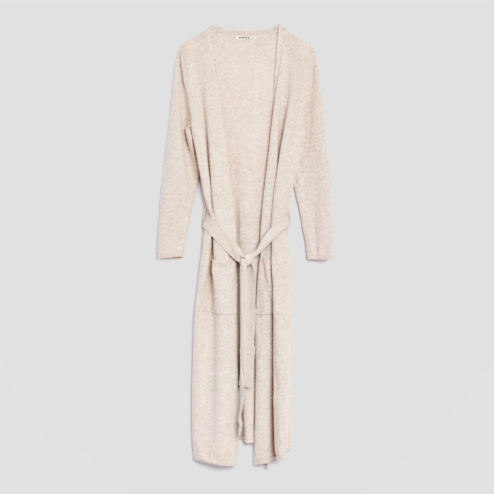 Piglet x WoolOvers Cashmere Merino Dressing Gown Natural Marl - Piglet in Bed