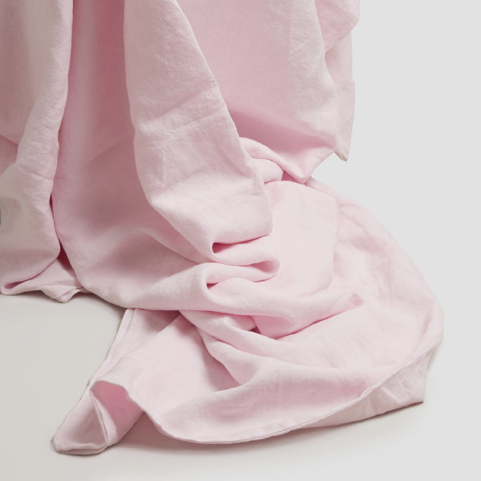 Blush Pink Linen Complete Sheet Set - Piglet in Bed