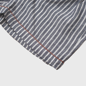 Midnight Stripe Linen Pajama Shorts Set - Piglet in Bed