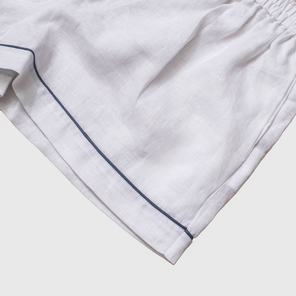 White Linen Pajama Shorts - Piglet in Bed