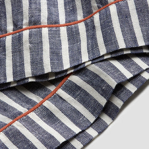 Midnight Stripe Linen Pajama Trousers - Piglet in Bed