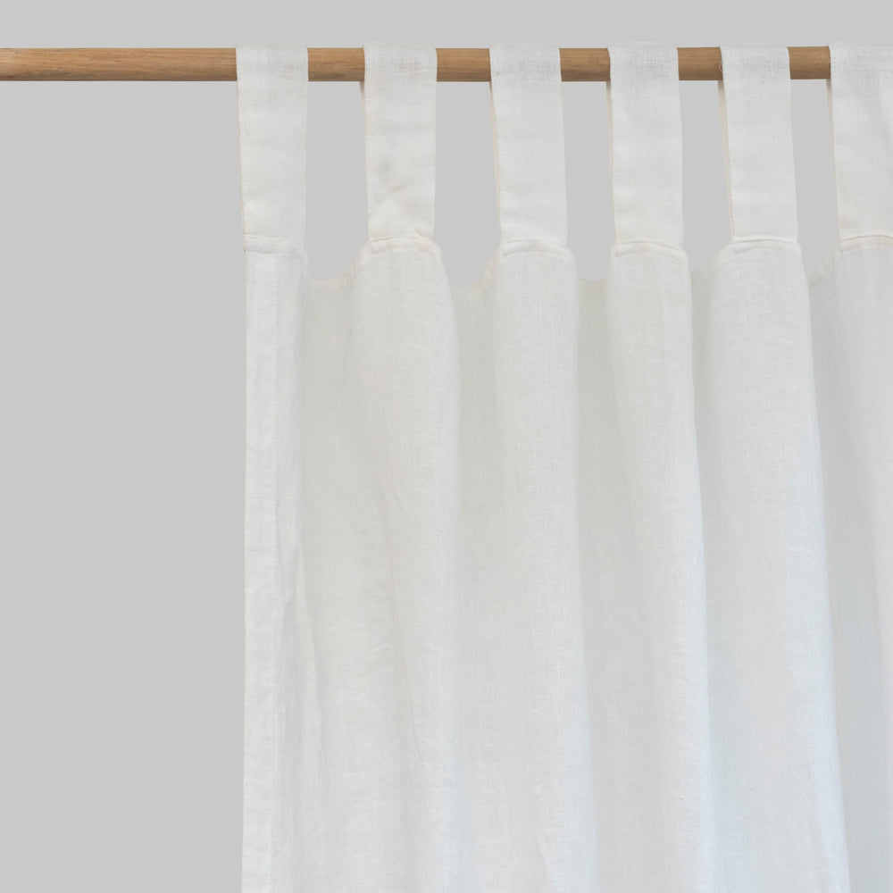 White Linen Curtains (Pair) - Piglet in Bed
