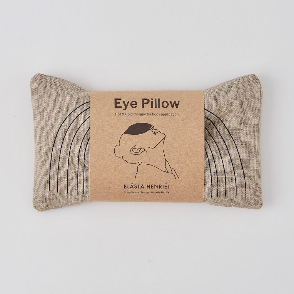 Wheat Eye Pillow with Navy Face in Linen - PIGLET US